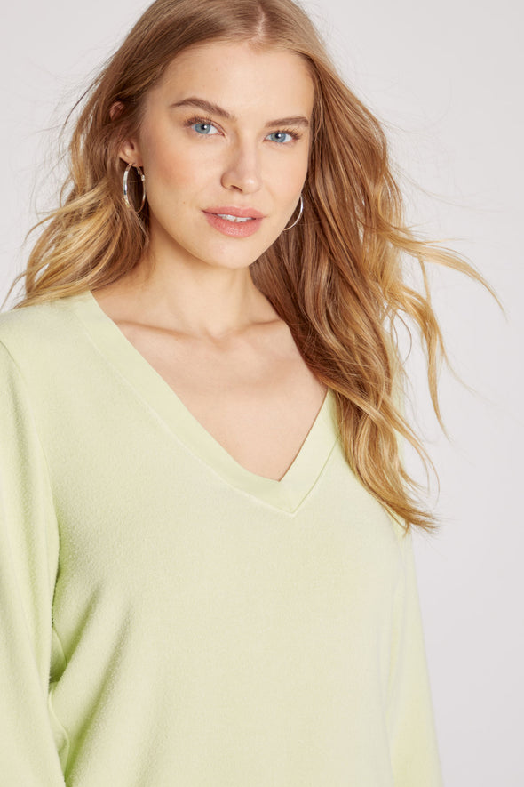 Baggy Beach Jumper Deep V | Shadow Lime