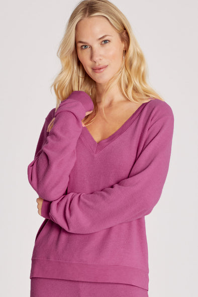 Baggy Beach Jumper Deep V | Magenta Purple