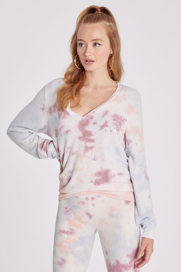Baggy Beach Jumper Deep V | Cloud Tie Dye