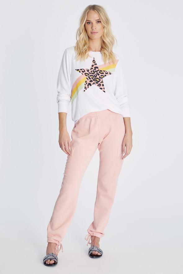 Leopard Star Baggy Beach Jumper | Clean White