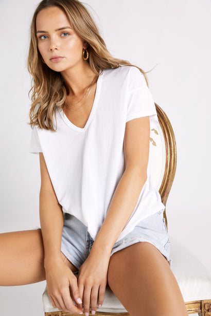 Chrissy V-neck Tee  | Clean White