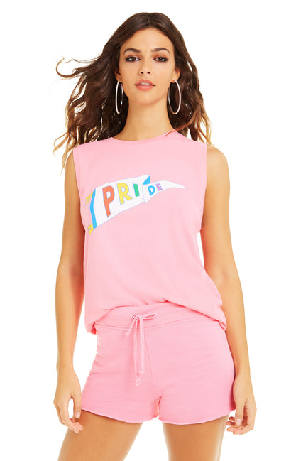 Pride Flag Vintage Muscle Tank | Bubble Gum