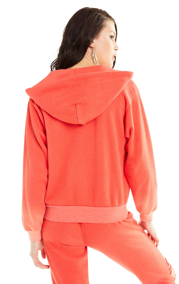 Destroyed Regan Zip Hoodie | Pigment Poppy Red