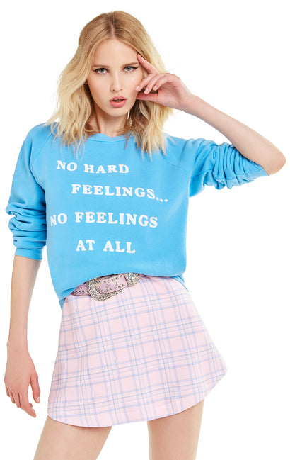 No Feelings at All Junior Sweatshirt | Pigment Wonderland Blue