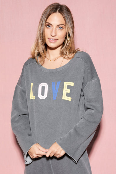 Four Letters Flora Sweatshirt | Pigment Dirty Black
