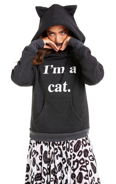 Guess What I Am Cuddles Cat Hoodie | Clean Black