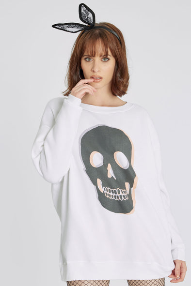 Skull Roadtrip Sweatshirt | Clean White