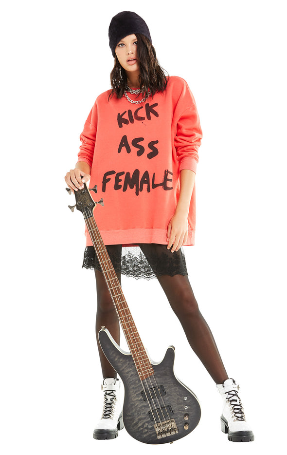 Kick Ass Female Roadtrip Sweater | Poppy Red