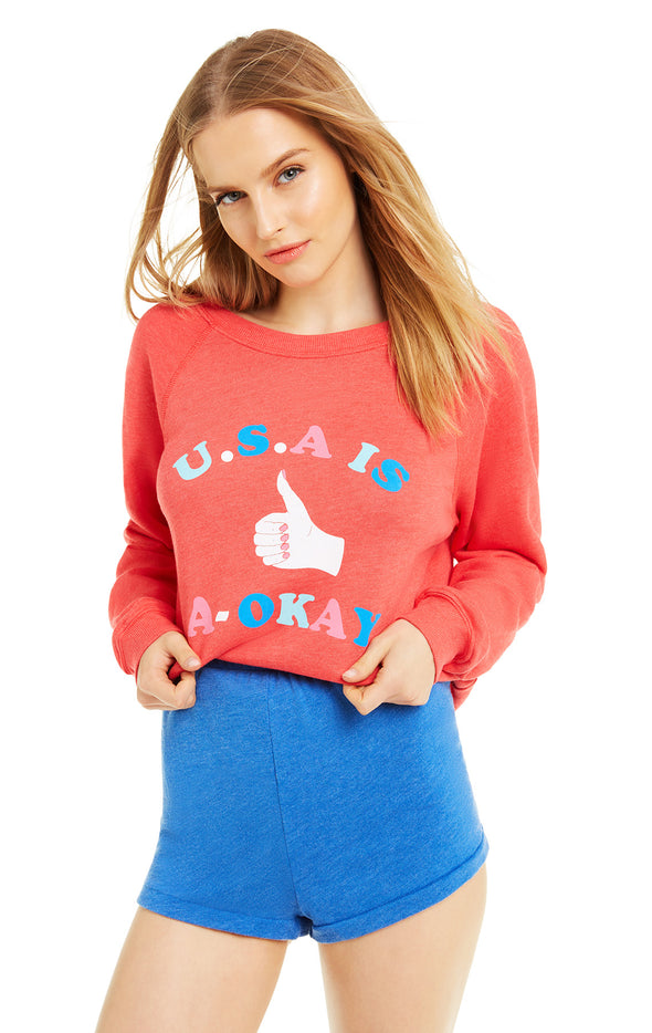U.S.A is A-Okay Sommers Sweater | Crimson