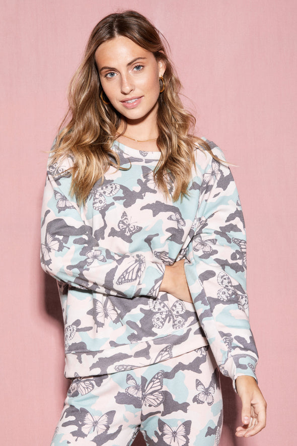 Butterfly Camo Sommers Sweatshirt  | Multi Colored
