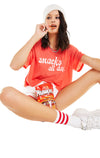 Snacks all Day Valley Tee | Poppy Red