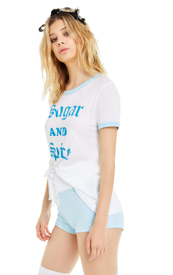 Sugar and Spice Johnny Ringer Tee | CW Honolulu Blue