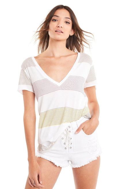60's Stripe Stella V-Neck Tee | Clean White