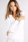 Baggy Beach Jumper Deep V  | Clean White