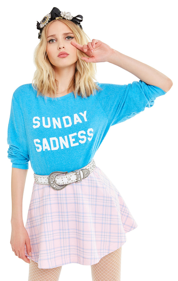 Sunday Sadness Baggy Beach Jumper | Wonderland Blue