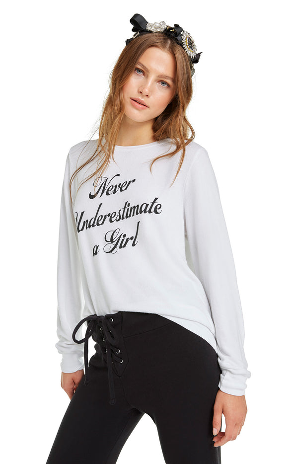 Never Underestimate a Girl Baggy Beach Jumper | Clean White