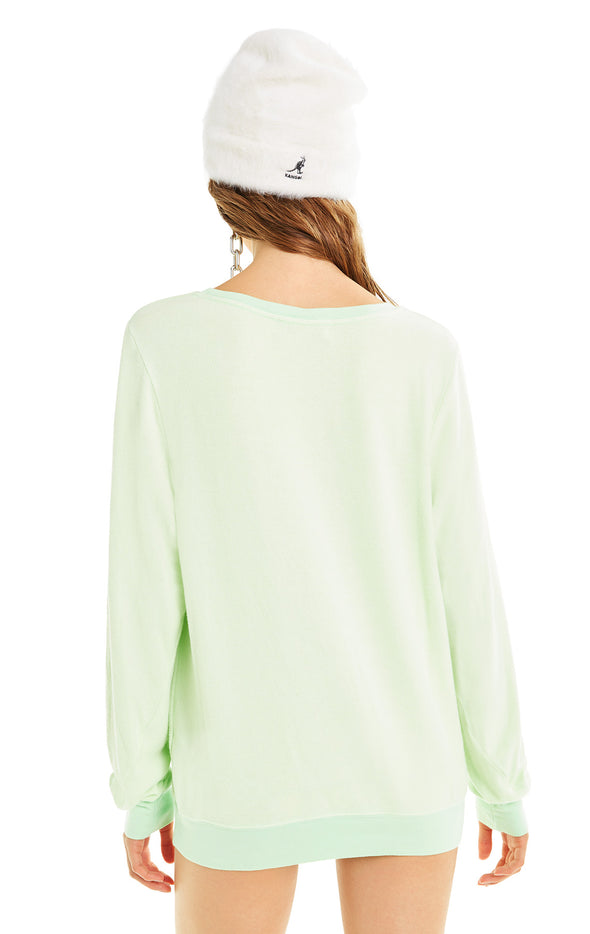Booze Button Baggy Beach Jumper | Soft Lime