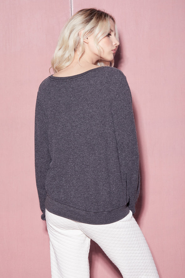 Cozy in Love Baggy Beach Jumper | Clean Black