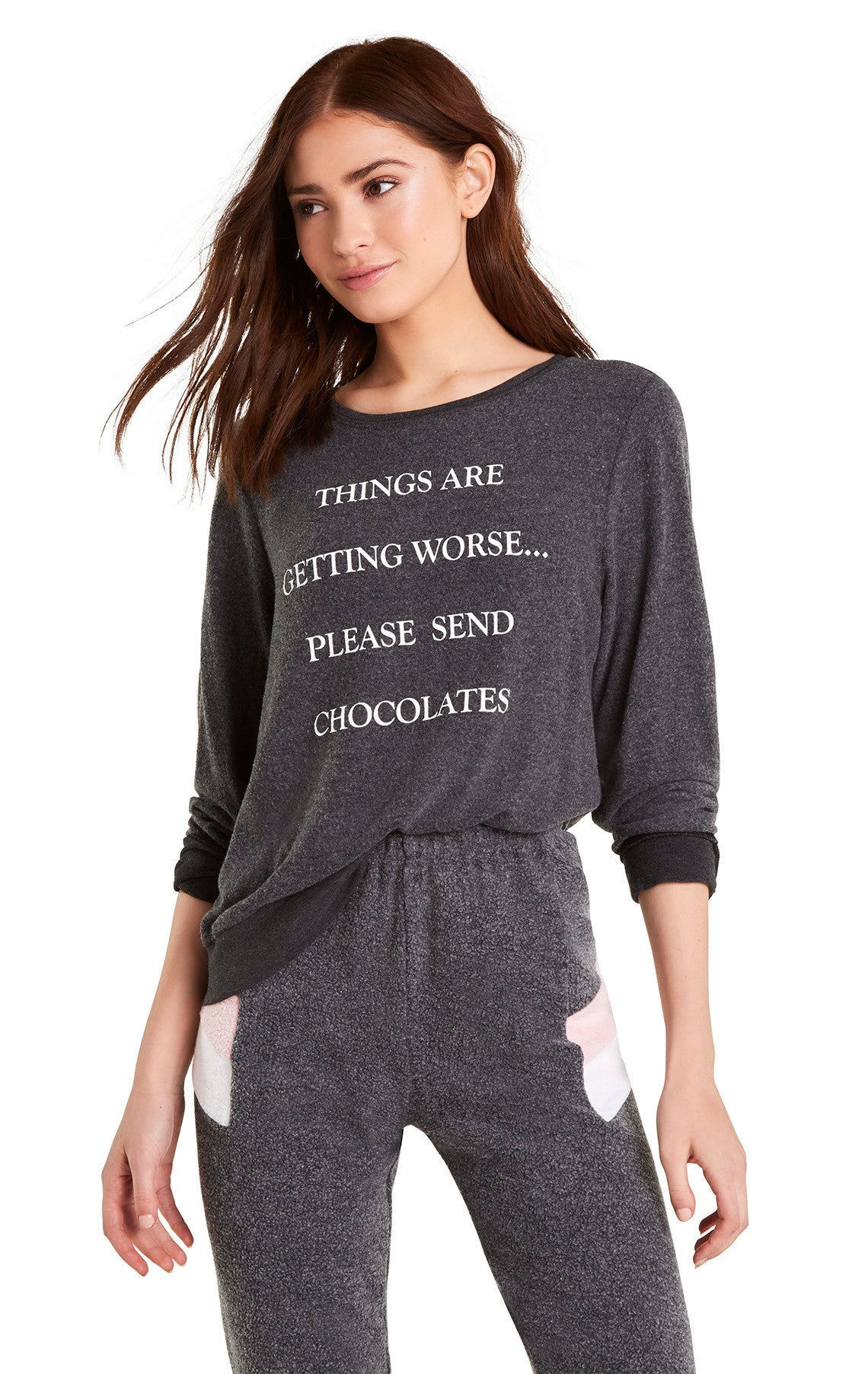0fc4995cffb604 Send Chocolates Baggy Beach Jumper | Clean Black – Wildfox Couture