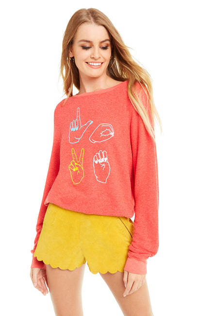 Love Signs Baggy Beach Jumper | Crimson
