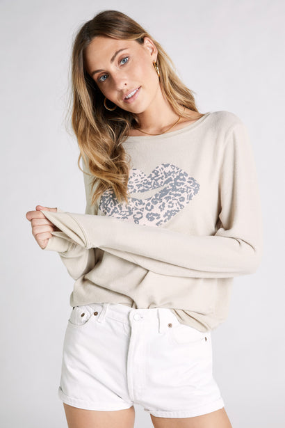 Leopard Kiss Baggy Beach Jumper  | Sand