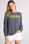 Vixen Print Baggy Beach Jumper | Dirty Black