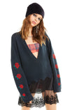 Palmetto Roses Sweater | Clean Black