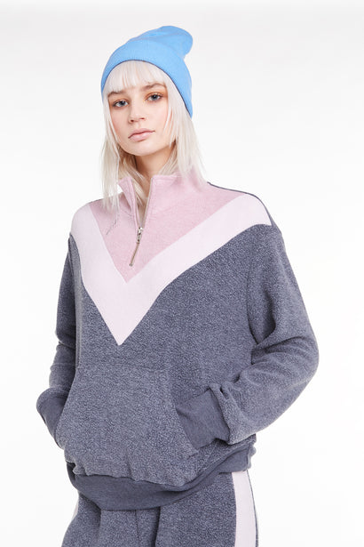 Blocked Soto Warm-Up, Sweater, sweatshirt, Night Crush Rose, Wildfox