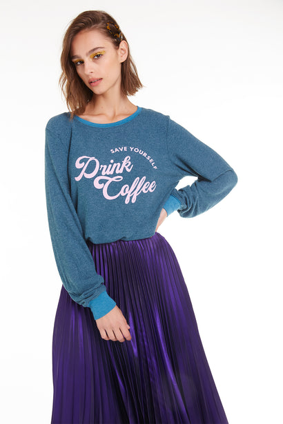 Drink Coffee Baggy Beach Jumper, Sweatshirt, Jewl, Wildfox