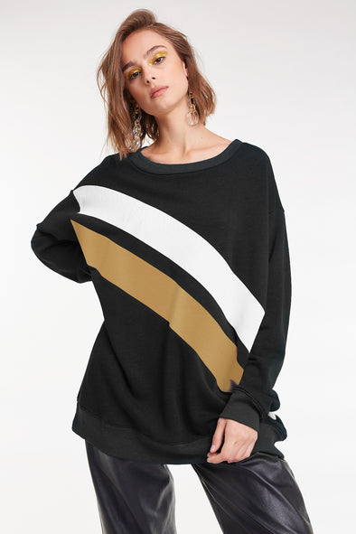 Dual Stripes Roadtrip Sweatshirt | Clean Black