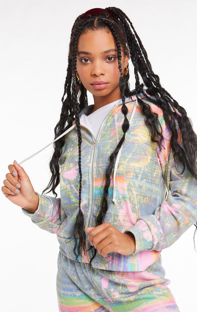 Galaxy Glitch Regan Zip Hoodie, Hoodie, Sweater, Multi, Wildfox