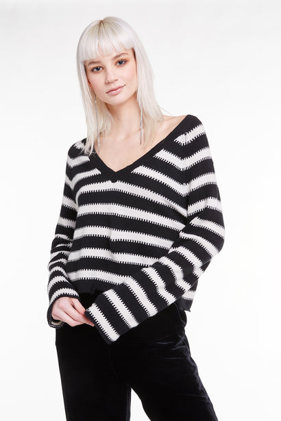 Optic Stripe Leanne Sweater, Sweater, Sweatshirt, Top, Night Vanilla, Wildfox