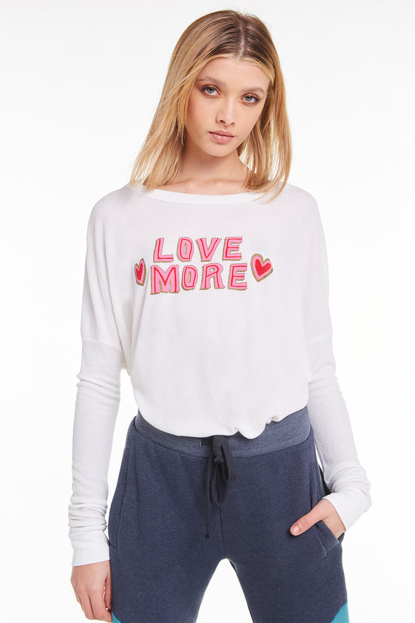Love More Perry Thermal, Thermal, Long Sleeve, Top, Vanilla, Wildfox