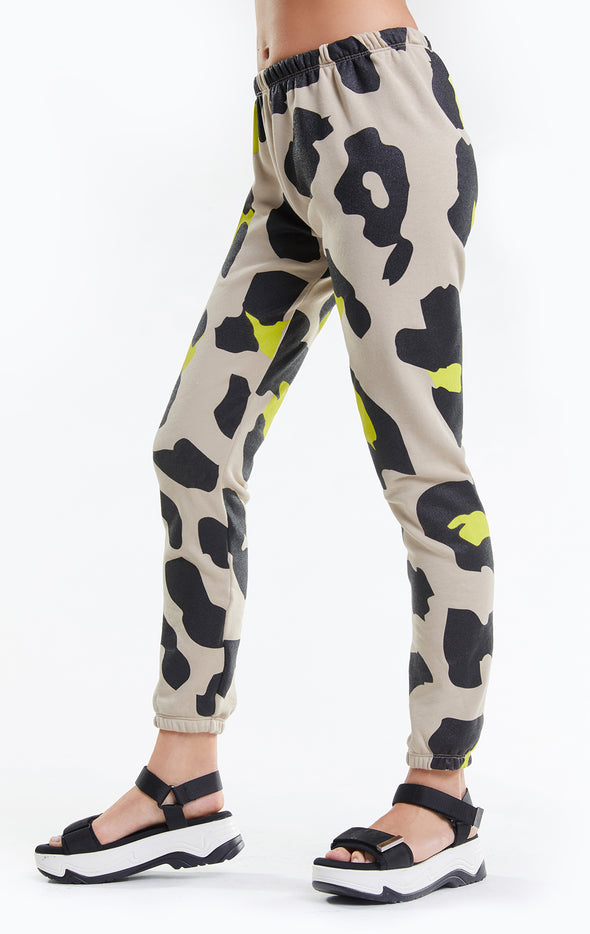 Jumbo Leopard Knox Pants, Pants, Bottoms, Sweats, Maderas Tan, Wildfox