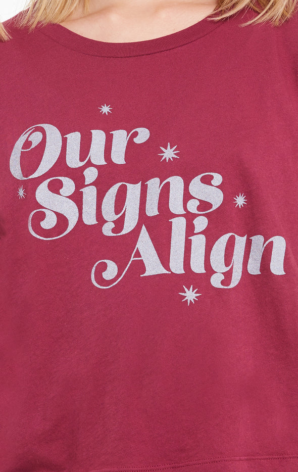Our Signs Align Baby Tee, T Shirt, Sangria, Wildfox