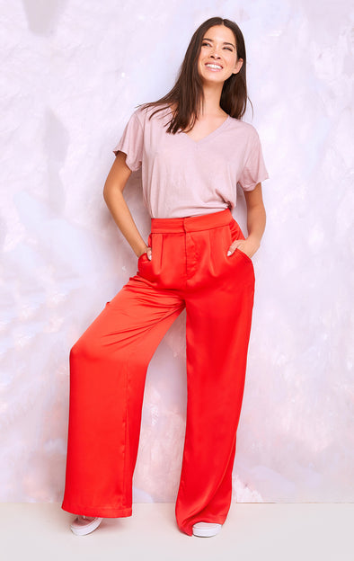 Annalise Pant, Satin Pants, Pants, Bottoms, Lava, Wildfox