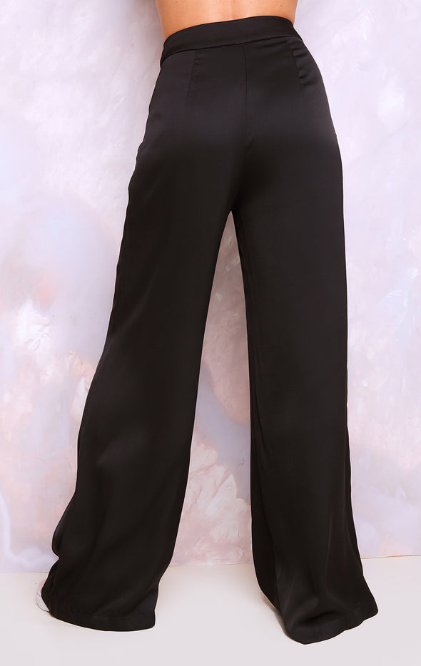 Annalise Pant, Satin Pants, Pants, Bottoms, Black, Wildfox