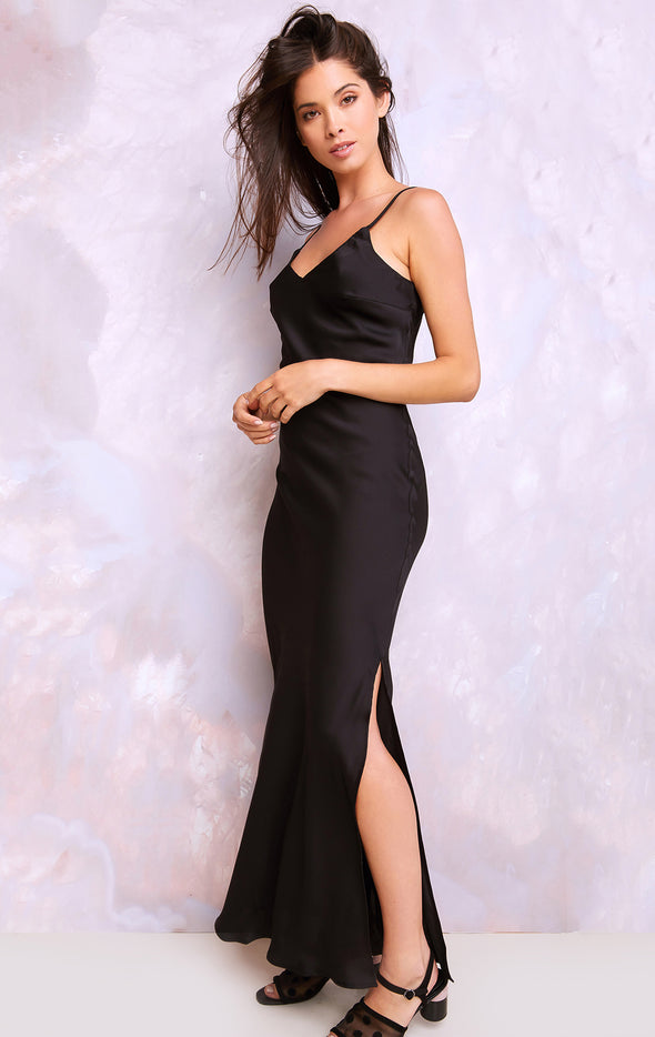 Bautista Dress, Satin Dress, Dress, Black, Wildfox