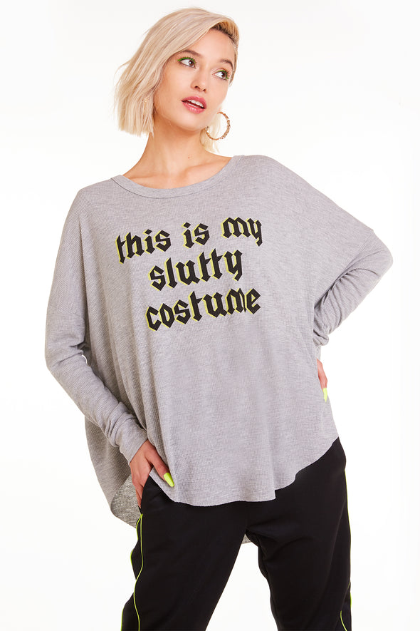 Slutty Costume Perry Thermal, Thermal, Top, Long Sleeve, Heather, Wildfox
