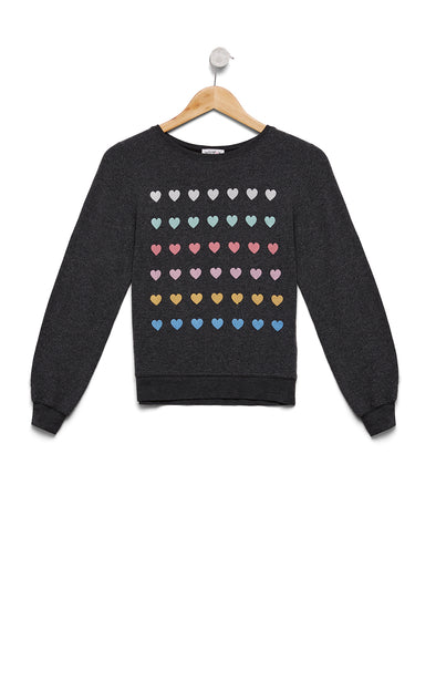 Kids Pastel Hearts Baggy Beach Jumper  |  Clean Black