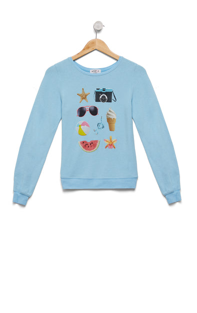 Kids Beach Essentials Baggy Beach Jumper | Pool Blue