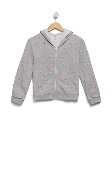 Kids Rose Ditsy Malibu Zip Up | Heather