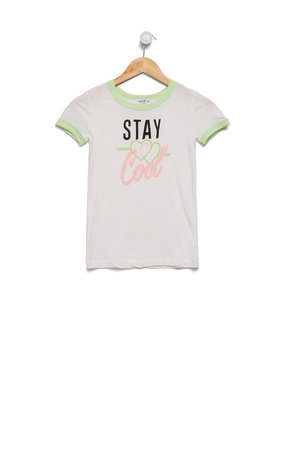 Kids Stay Cool Vintage Ringer Tee | Soft lime Vanilla