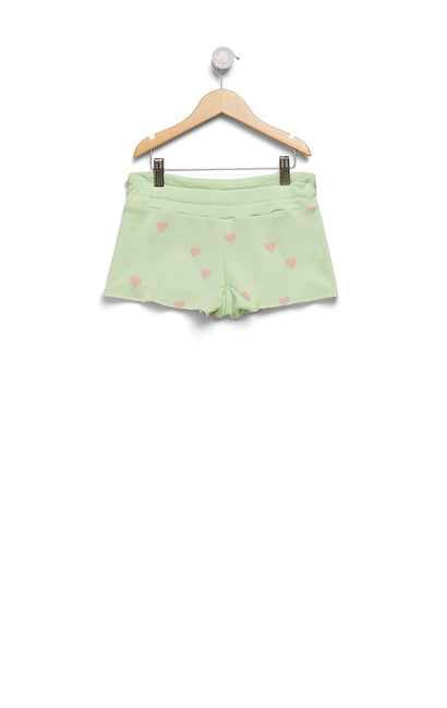 Kids Scattered Hearts Cutie Shorts | Soft lime