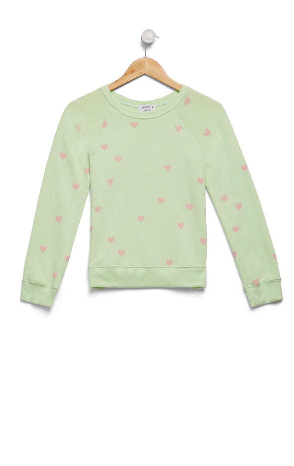 Kids Scattered Hearts Sommers Sweater | Soft Lime