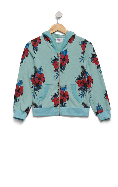 Kids Hibiscus Dreams Malibu Zip Up | Glacier