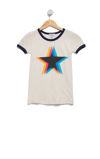 Kids Triple Star Vintage Ringer Tee | Vintage Lace/Oxford