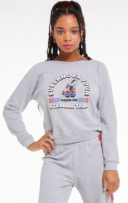 Supernova Tour Fiona Crew, Crew Neck, Sweatshirt, Sweater, Heather, Wildfox