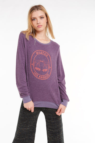 Wildfox Los Angeles Baggy Beach Jumper, Sweatshirt, Sweater, Plum, Wildfox