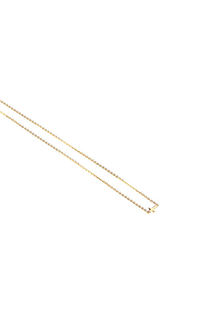 Leenabell 14K Yellow Sideways Cross Necklace | Yellow Gold